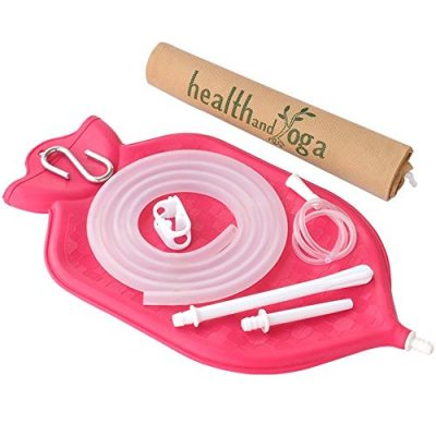 The-HealthAndYogaTM-Enema-Bag-Kit-Open-fountain-top-2-quart-Silicone-Tubing-AND-Strong-Metal-Suspension-Hygienic-Sterile-Enema-Sheet-Privacy-Carry-Storage-Bag-0
